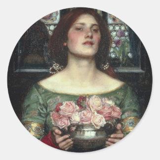 Gather Ye Rosebuds While Ye May - Waterhouse Round Sticker