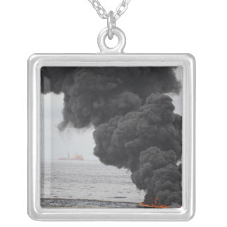 Gathered concentrated oil burns silver plated necklace