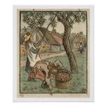Gathering Apples, from 'Travaux des Champs', engra Poster