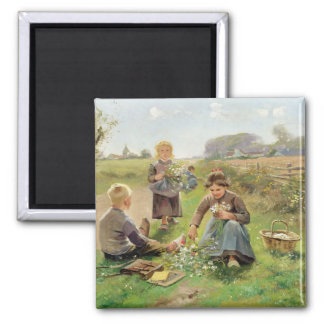 Gathering Flowers (oil on canvas) Magnet