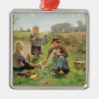 Gathering Flowers (oil on canvas) Ornament