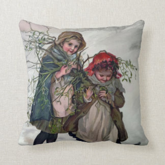 Gathering Mistletoe Throw Pillow