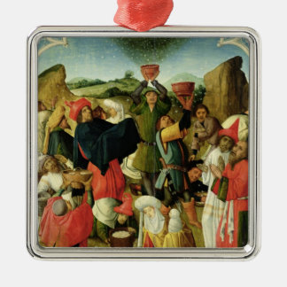 Gathering of the Manna Square Metal Christmas Ornament