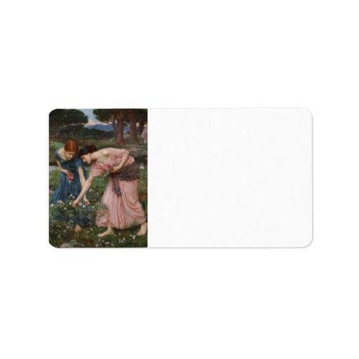 Gathering Rosebuds by John William Waterhouse Custom Address Label