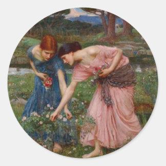 Gathering Rosebuds Classic Round Sticker