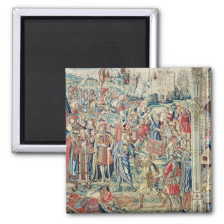 Gathering the Booty, Tapestry of David and Bathshe 2 Inch Square Magnet