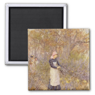 Gathering wood for mother 2 inch square magnet
