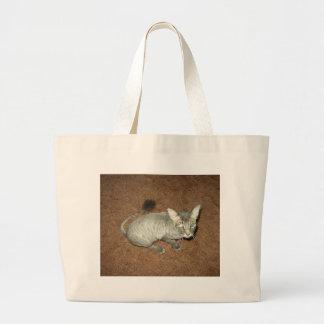 Gatito afeitado bolsa tela grande