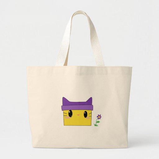 Gatito amarillo bolsa tela grande