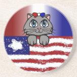 Gatito americano del centro posavasos personalizados