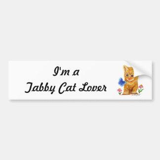 Gatito anaranjado del gato de Tabby Etiqueta De Parachoque