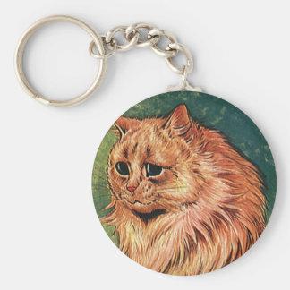 Gatito anaranjado del gato del pelo largo llavero redondo tipo chapa