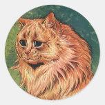 Gatito anaranjado del gato del pelo largo pegatina redonda