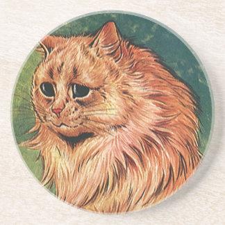 Gatito anaranjado del gato del pelo largo posavasos manualidades