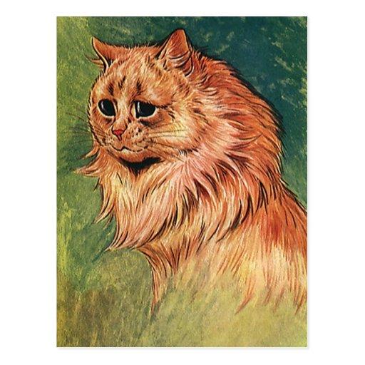 Gatito anaranjado del gato del pelo largo postal