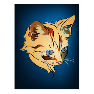 Gatito anaranjado del Tabby con los ojos azules en Tarjetas Postales