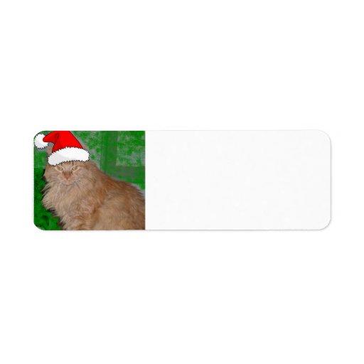 Gatito anaranjado del Tabby del navidad Etiqueta De Remite
