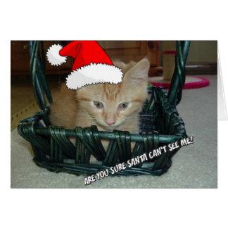Gatito anaranjado del Tabby del navidad Tarjeta De Felicitación