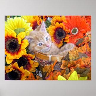 Gatito anaranjado que gandulea, girasoles del gato poster