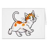 Gatito anaranjado y blanco felicitación