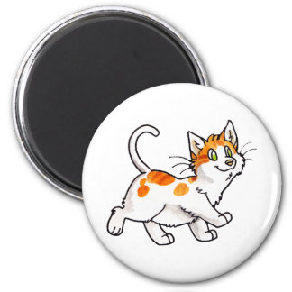 Gatito anaranjado y blanco imán redondo 5 cm