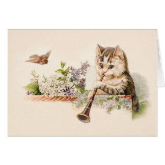 Gatito antropomorfo que juega el cuerno - arte del tarjeta de felicitación
