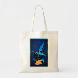 Gatito azul de la bruja bolsa tela barata
