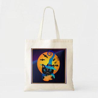 Gatito azul de la bruja - luna de cosecha bolsa tela barata