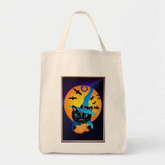 Gatito azul de la bruja - luna de cosecha bolsa tela para la compra