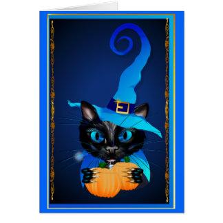 Gatito azul de la bruja tarjeta de felicitación