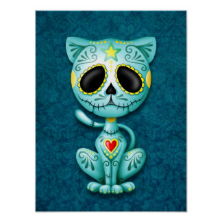 Gatito azul del azúcar del zombi impresiones