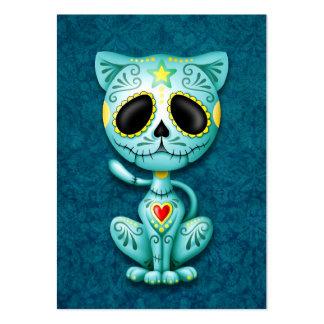 Gatito azul del azúcar del zombi tarjeta de negocio