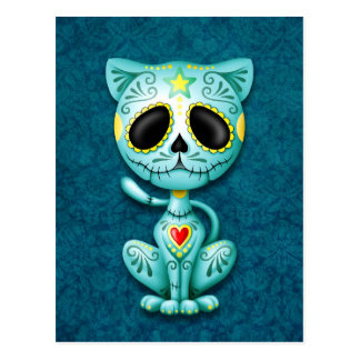 Gatito azul del azúcar del zombi tarjeta postal