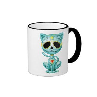Gatito azul del azúcar del zombi taza