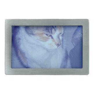 Gatito azul del calicó del tono hebillas de cinturon rectangulares