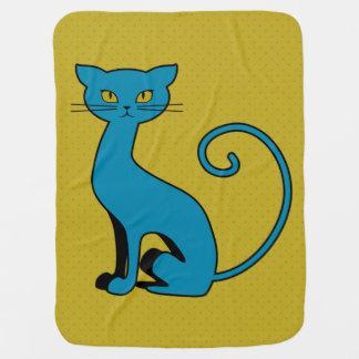 Gatito azul del dibujo animado - manta del bebé mantitas para bebé