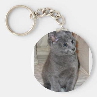 gatito azul ruso llavero redondo tipo pin