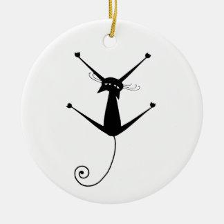 Gatito banal negro 10 adorno navideño redondo de cerámica