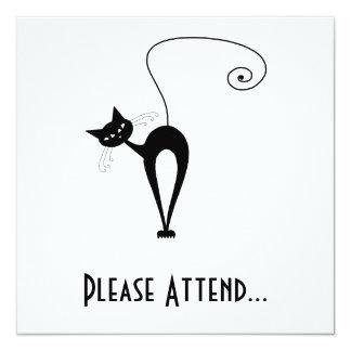 """Gatito banal negro 3 invitación 5.25"""" x 5.25"""""""