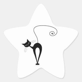 Gatito banal negro 3 calcomanías forma de estrella personalizadas