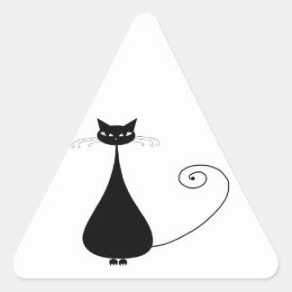 Gatito banal negro 4 pegatina triangular