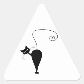 Gatito banal negro 5 pegatina triangular