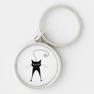 Gatito banal negro 6 llavero redondo plateado