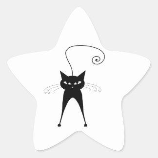 Gatito banal negro 6 calcomanías forma de estrellas