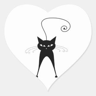 Gatito banal negro 6 pegatina en forma de corazón