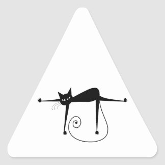 Gatito banal negro 8 pegatina triangular