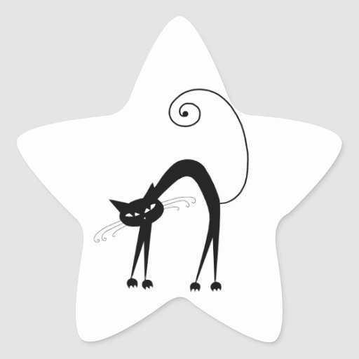 Gatito banal negro 9 pegatina en forma de estrella