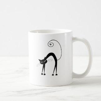 Gatito banal negro 9 taza básica blanca