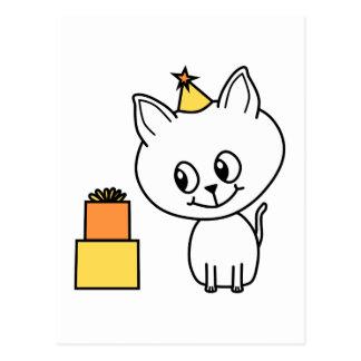 Gatito blanco dulce que lleva un sombrero del tarjetas postales