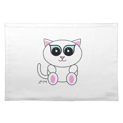 Gatito blanco mantel individual